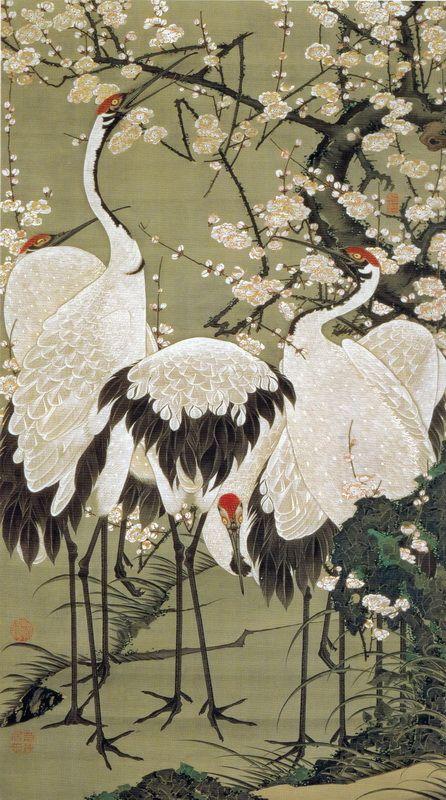 伊藤若冲 Ito Jakuchu/15 梅花群鶴図 Baika Gunkaku-zu(Plum Blossoms and Cranes)