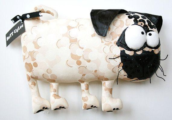 RESERVED LISTING ... PuG NaMed AnGus ... WhimsicaL WaLL ArT ... polka dots, cream, tan, bone
