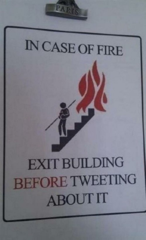 Funny in a way; yet, what are the chances that it would be tweeted before exiting...kind of sad to say.