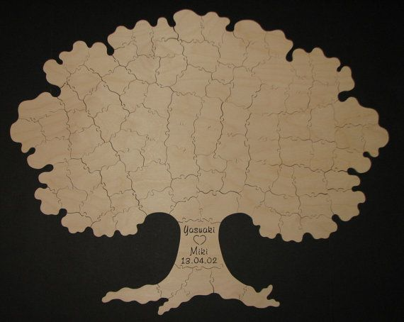 100 pc Wedding Guest Book TREE Puzzle - rustic wedding guest book alternative - Hand Cut Wooden Jigsaw