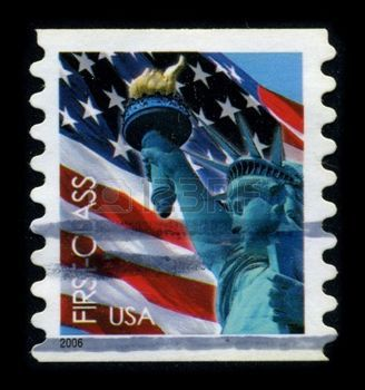 french postage stamp: USA-CIRCA 2006: A stamp dedicated to the The Statue of Liberty (Liberty Enlightening the World [French: La Liberte eclairant le monde]) is a colossal neoclassical sculpture on Liberty Island in New York Harbor, designed by Frederic Bartholdi and dedicated