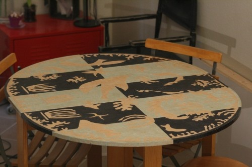 "Upholstered paper cuts table inspired by Matisse ""La Polynésie"""
