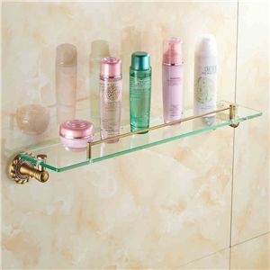 european vintage bathroom accessories antique brass glass bath shelf