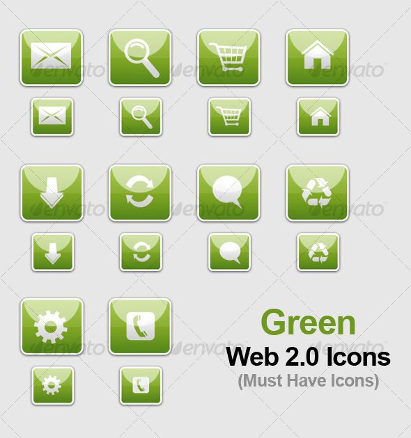 Green WEB 2.0 Icons — Layered PSD #web 2.0 icons #glassy • Download here → https://graphicriver.net/item/green-web-20-icons/82643?ref=pxcr