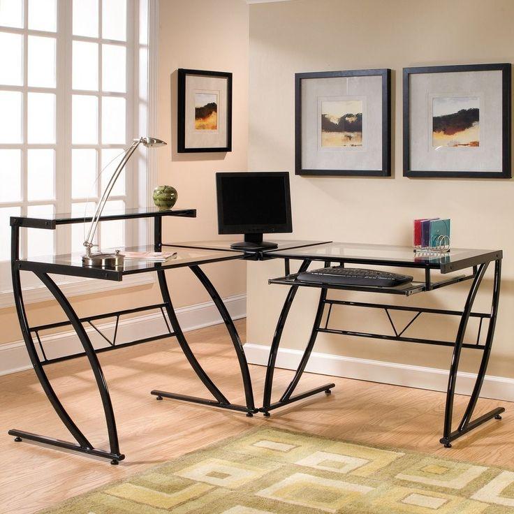 Corner Computer Desk L-Shaped Glass Workstation Home Office Table Keyboard Tray #CornerComputerDesk #Modern