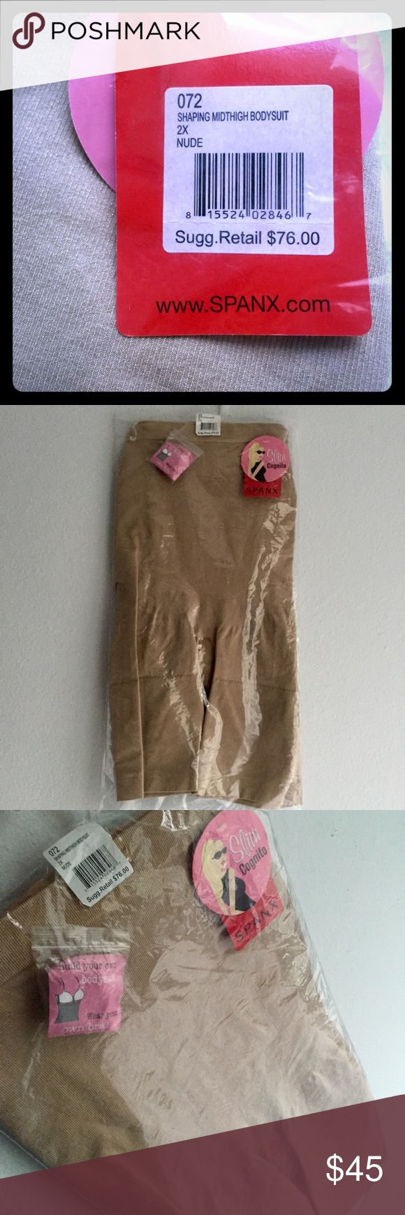 SPANX mid-thigh bodysuit Nude, 2x, never opened. ****Just to assure y'all NOTHING is sketchy on the many NWT spanx: My stepmom used to wear compression daily for warmth/support & bought in bulk. But she's now a diabetic retiree living in the subtropics so a reserve cache is totally unnecessary. Make me an offer 😊! SPANX Intimates & Sleepwear Shapewear