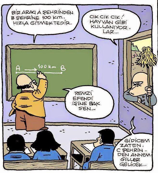 Ah şu A-B-C şehirleri ömrümü az yemedi zamanında. Küçüklüğüm Matematiğin mantığını çözmekle geçti... Ama nerde, çözemedim gitti yine de... :) #Karikatür #Caricature #Matematik #KüçüklüğümüYedi