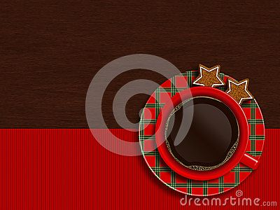 Christmas cup of coffee with cookies lying on wooden table with place for text