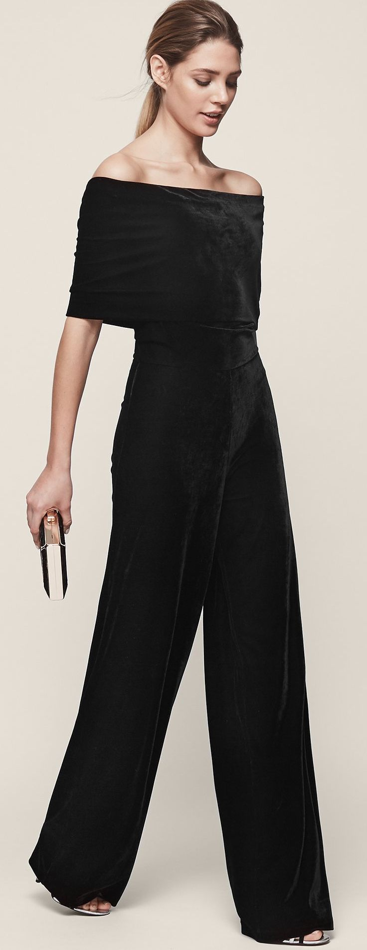 Velvet off shoulder Jumpsuit. £175.00 Nothing says formal winter wear like lush velvet. This amazing Jumpsuit is perfect for a winter wedding. Dress it up with a Contrast Burgundy or jewel tone shrig or faux fur bolero, for winter glamour. Fashion forward winter wedding style ideas and inspiration. #fashion #fashionista #fashionaddict #velvet #jumpsuits #winterwedding #affiliatelink #ootd