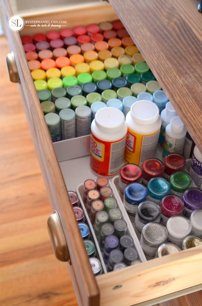 """- Craft Supplies Storage Ideas - I have a """"dresser"""" made out of our old waterbed…"""