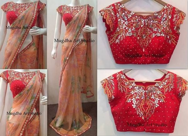 Peach Saree Red Mirror Blouse | Saree Blouse Patterns