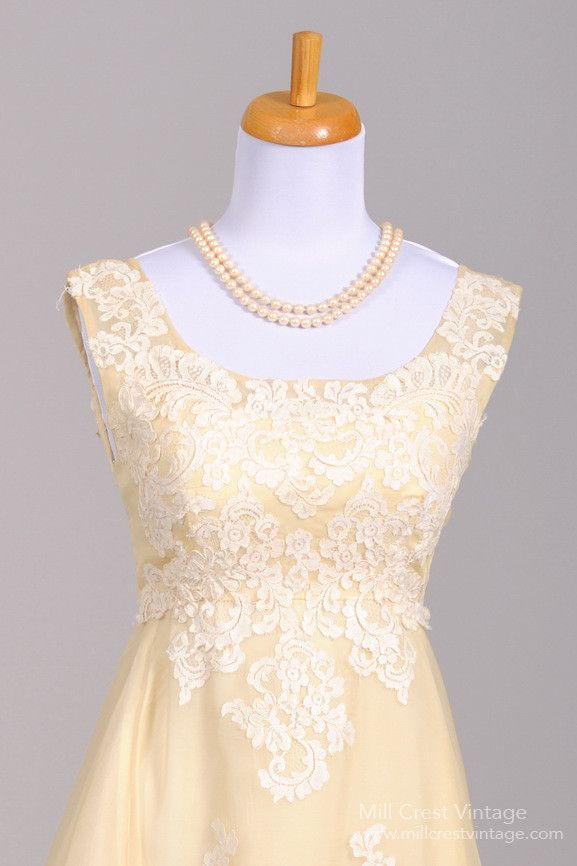Vintage 60's Bianchi of Boston silk organza butter cream lace wedding gown (unique and beautiful)