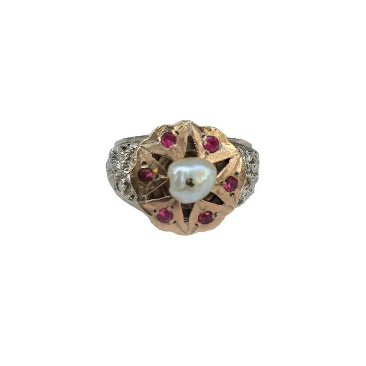 One-of-a-kind rose gold & silver ring with cultured pearl & rubies. http://lasninastextiles.com/product/rose-gold-silver-ring/