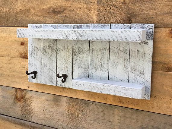 FARMHOUSE BATHROOM WALL SHELF with hooks, Whitewashed Bathroom Shelf, Master bathroom Ideas, rustic bathroom organizer, with two coat or towel hooks and shelves. This is perfect for your bathroom, or would even be a great addition to an entry way or mud room. Its uniqueness makes