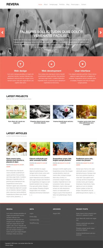 Revera is a free premium wordpress theme based on the Bootstrap 3 framework. This is a responsive wordpress theme with all the bootstrap goodness packed in it. The theme is WordPress 3.6 ready. The theme comes with features like, custom menu, featured images, custom homepage template, portfolio page template , widgetized sidebar and footer, custom widgets on homepage,  theme option page etc.