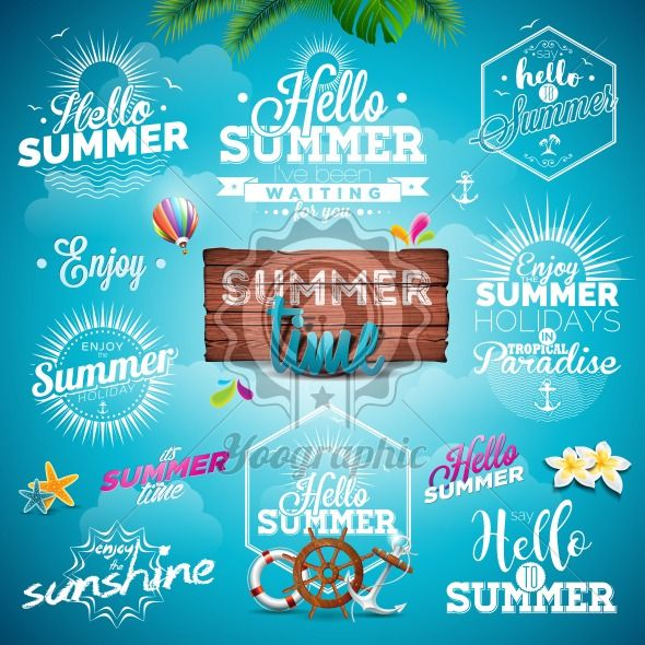 Vector Summer Typography Illustration set with signs and symbols on blue background. Icon collection for travel agency, restaurant and bar, beach vacation and party. - Royalty Free Vector Illustration