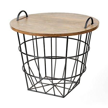 Industrial Wire and Wood Basket Side Table   Kirklands Reg. $79.99 Sale $63.99