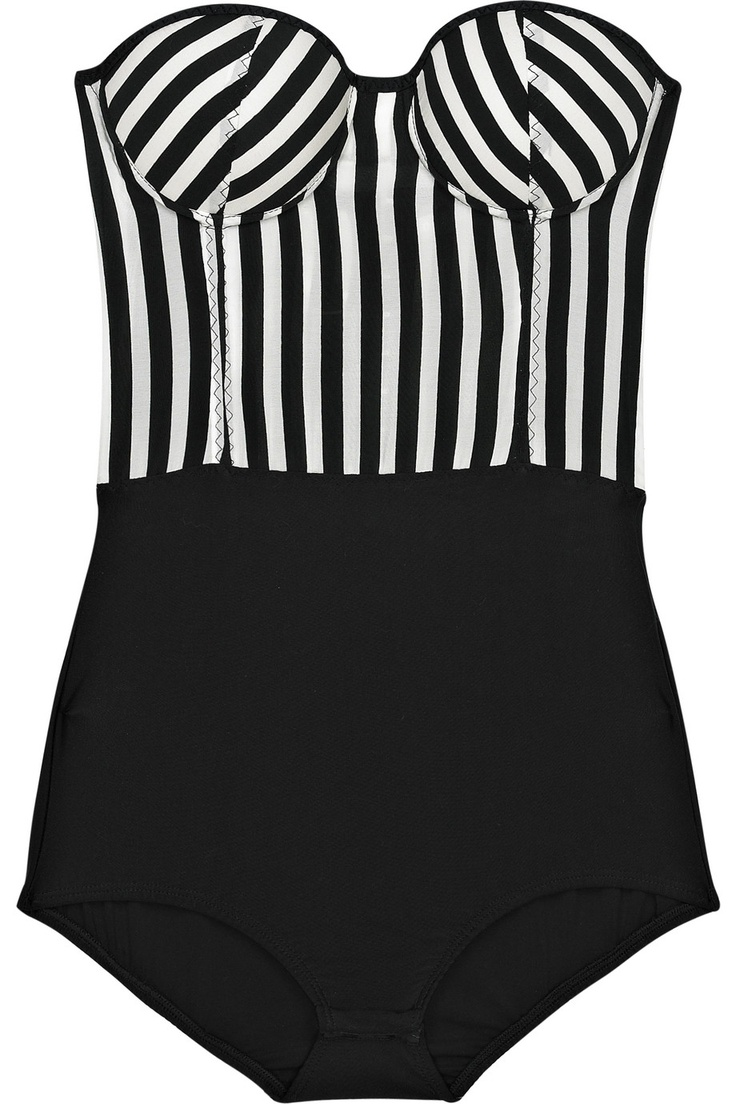 Rosa Chá-Striped strapless bodysuit-NET-A-PORTER.COM