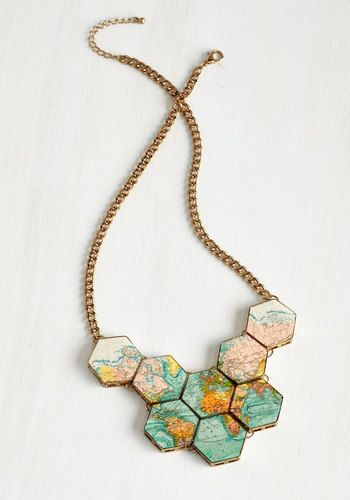 No Place Like Roam Necklace - Casual, Boho, Safari, Travel, Nifty Nerd, Gold, Exclusives, Multi, Novelty Print, Statement
