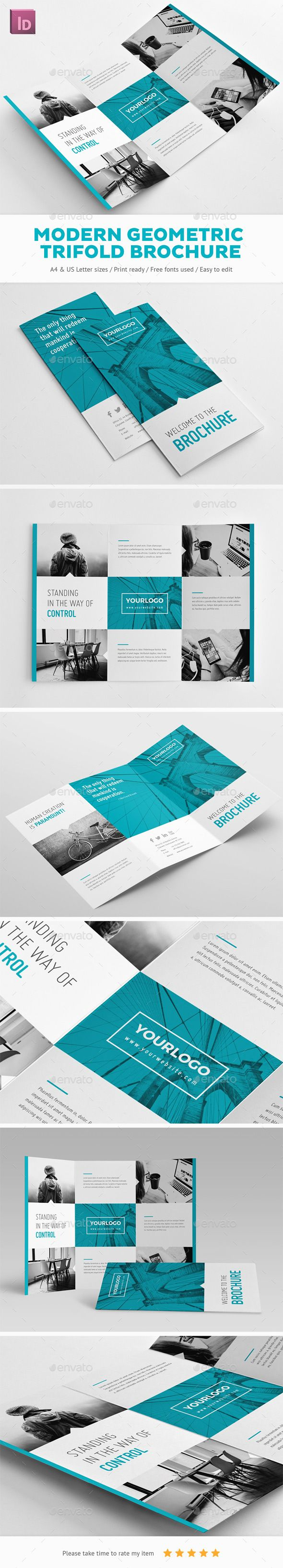 Modern Geometric Trifold Brochure Design - Brochures Print Template InDesign INDD. Download here: http://graphicriver.net/item/modern-geometric-trifold-brochure/16880123?ref=yinkira