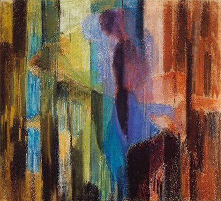 """""""Femme cueillant des fleurs"""" (Mujer recogiendo flores), 1908, Museo nacional de arte moderno, París. En este cuadro, Kupka aborda el tema de la representación de un objeto en movimiento."""