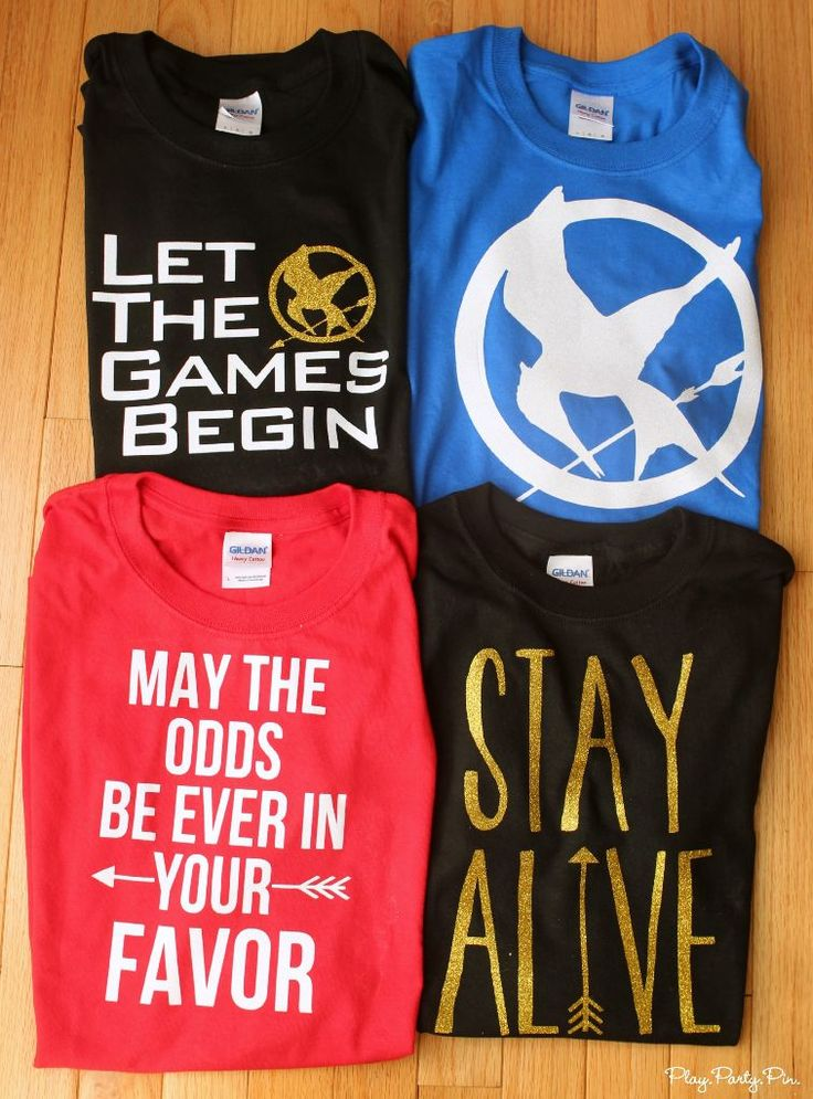 These DIY Hunger Games shirts are so easy to make using heat transfer vinyl and an iron and are the perfect outfit to wear to opening night!