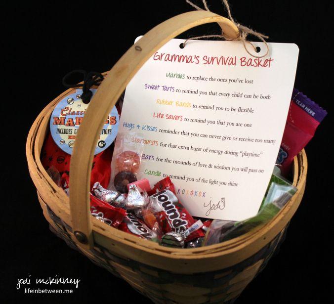 Grandmas Survival Basket Gift For Grandparent Shower