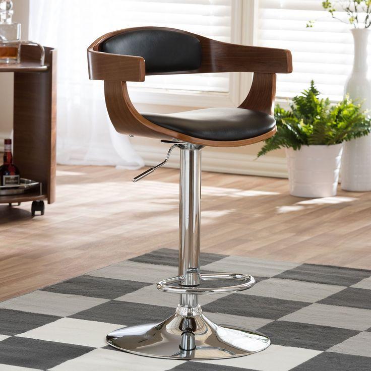 Baxton Studio Garr Walnut and Black Modern Adjustable Bar Stool