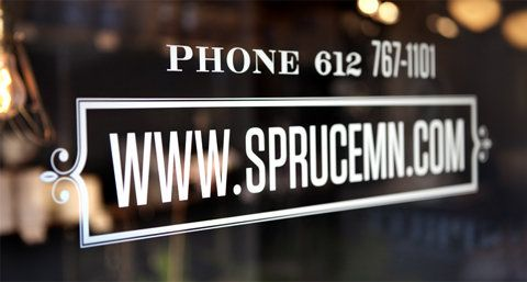 Typography, signage on shop window, window decals, branding, typography