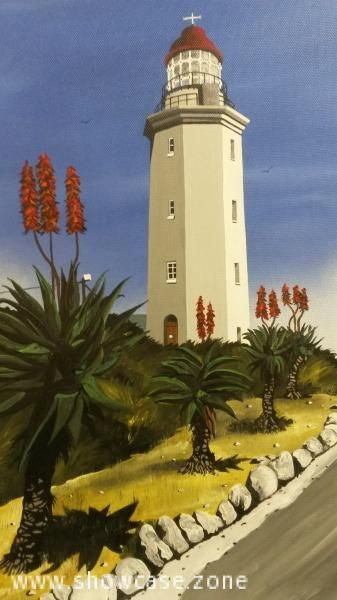An original oil painting of the Danger Point Lighthouse in Gansbaai, Southern Coast of Cape Town. This lighthouse is situated close to where the HMS Birkenhead was shipwrecked in 1853. More than 400 people died. Since then, more than seven other ships were lost in this dangerous area, before the lighthouse was built in 1895. It is believed that the remains of at least seven sunken ships can still be found on the rocks at the foot of the Danger Point lighthouse.