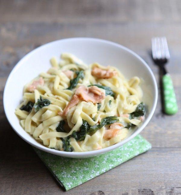 One pot pasta - Tagliatelles saumon fumé épinards (papilles et pupilles) Très bon, mais cuire 2-3 minutes de plus. Fait avec des épinards surgelés,  à tester avec les frais comme indiqué