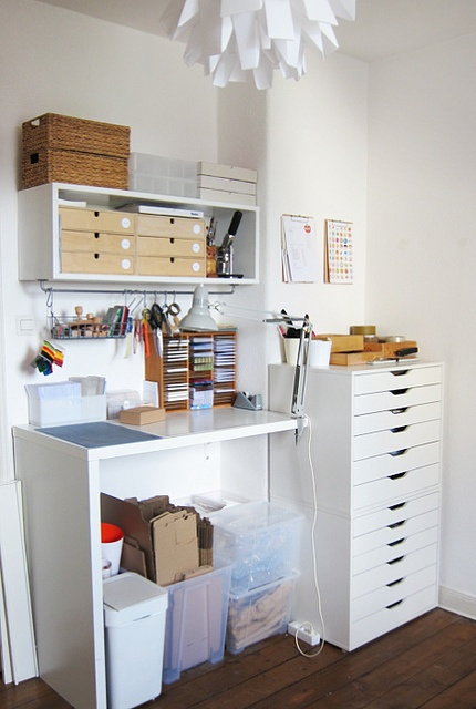I love these IKEA flat storage containers. I need to purchase another one and stack it. Brilliant! Mine is a gray color.