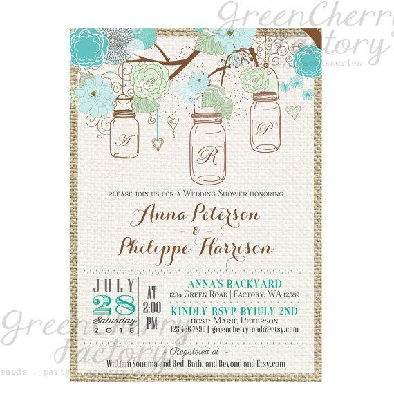 Rustic Burlap Wedding Shower Invitation - Initials - Mint Teal Mason Jar - Wedding Invite - Bird Tree Backyard - Printable - No.558