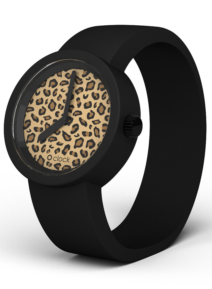 O Clock Watch Leopard Face Black Strap