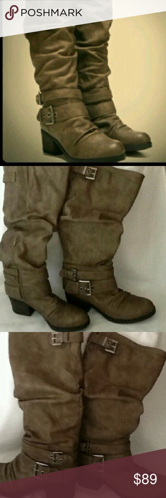 Size 7.5 Carlos Santa Claudia style boots Tan with a brushed gray color running through. Can look this up online also style name Claudia. Zip up side and gorgeous silver hardware. I do not have box. Slip resistant bottoms. Beautiful condition. Only worn a few times. No flaws like new. Carlos Santana Shoes Combat & Moto Boots