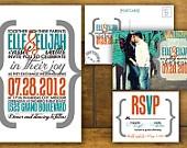 Modern, printable Wedding invitation and RSVP Postcard- Yellow and Gray,