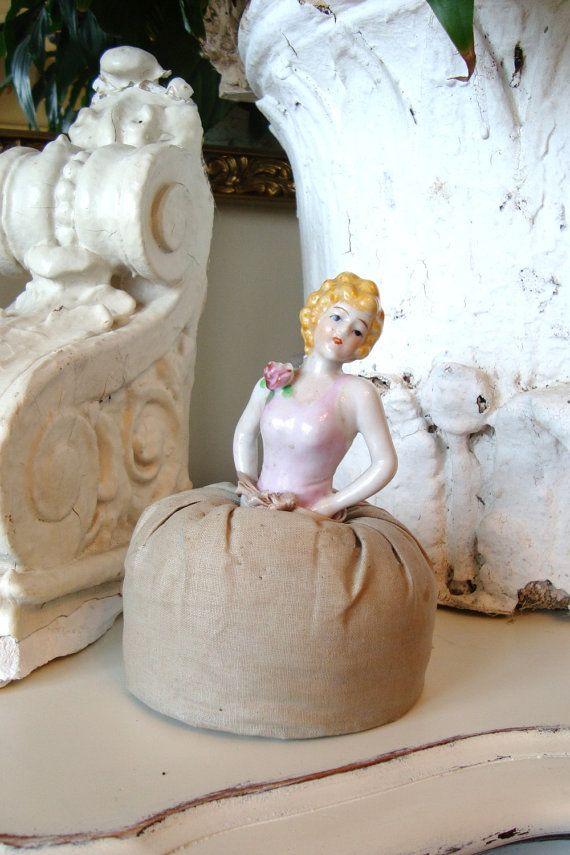 Vintage Half Doll Pin Cushion Porcelain