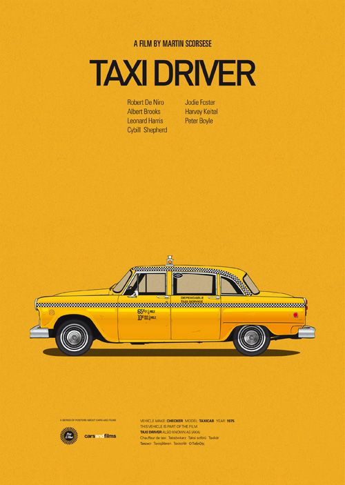 'Taxi Driver' NYC yellow taxi cab | Classic posters of iconic movie cars by Jesús Prudencio