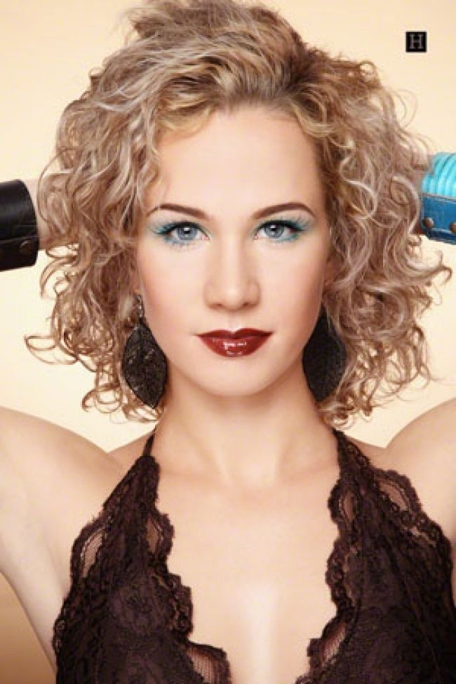 Medium Length Layered Curly Spiral Perm With Bangs Health