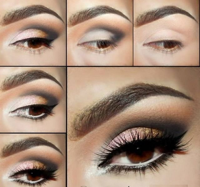 warm braune Augen Schmink Anleitung Lidschatten geschwungen