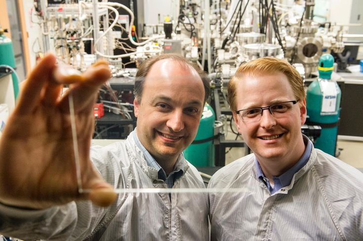 Picture of Vladimir Bulović (left), Miles Barr PhD '12 (right) are making transparent solar cells