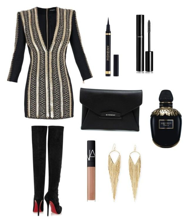 """""""Unbenannt #7"""" by fashionbible99 on Polyvore featuring Mode, Balmain, Givenchy, Christian Louboutin, Yves Saint Laurent, Alexander McQueen, Jules Smith, Chanel und NARS Cosmetics"""