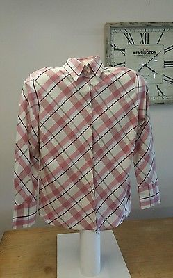 RM Williams Ladies Semi Fitted Pink & Cream Check Shirt Size 16