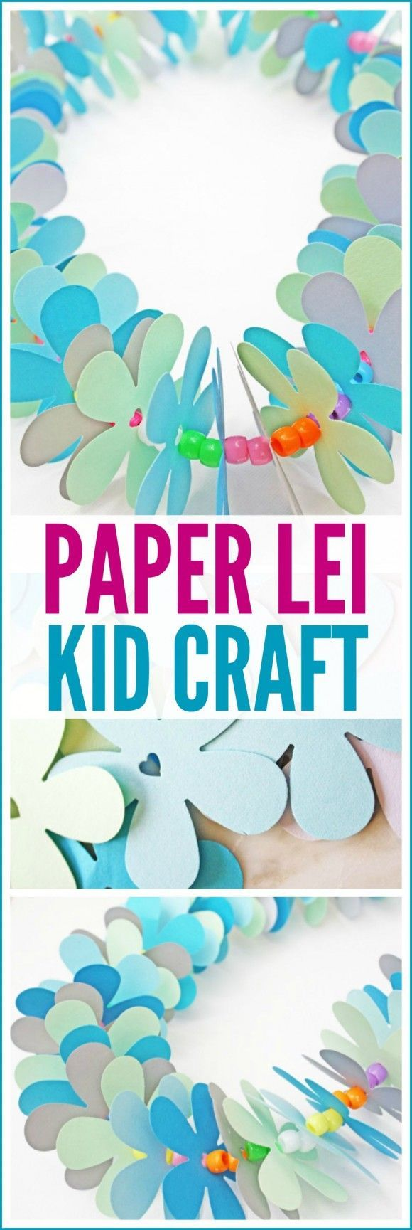 These paper leis are the best kids craft to keep them busy over summer, plus they make a great Hawaiian party activity!   CatchMyParty.com