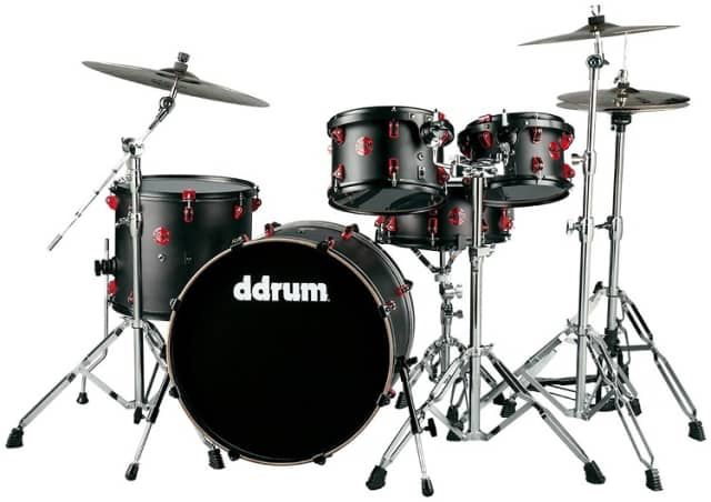 ddrum Hybrid Acoustic/Electric Drum Set - 5pc, Black with Red Hardware