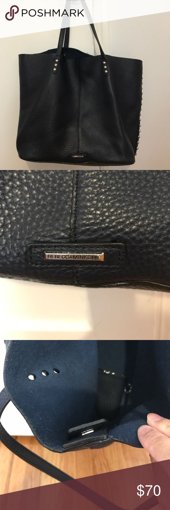 Rebecca Minkoff unlined Tote (large) - 100% authentic - it's navy blue not black (hard to tell in pic) - inside magnetic clasp is broken but can be easily fixed - no missing studs - minor scratches from normal wear - comes with a removable clutch inside - approx 12 x 15 inches Rebecca Minkoff Bags Totes