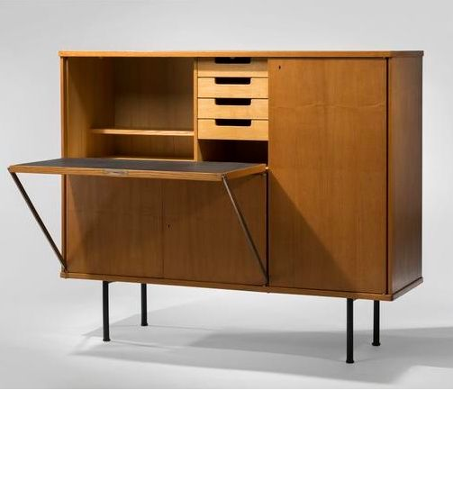 René-Jean Caillette; Oak and Enameled Metal Secretary Cabinet, 1953.
