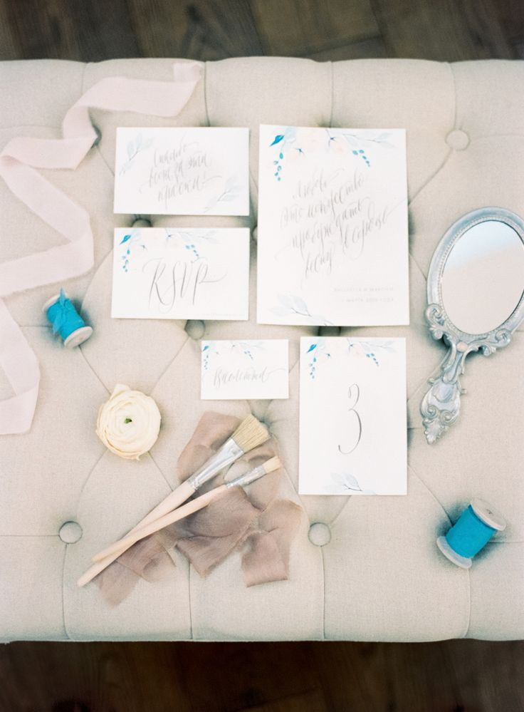 Wedding Stationery | Blue Watercolor wedding inspiration | Photography : yaroslavandjennyphotography.com/ | Read more #weddinginspiration on fabmood.com: