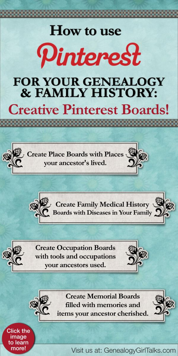 Genealogy Girl Talks | Family History | Genealogy | Audio Blog | Podcast: How to use Pinterest for Genealogy