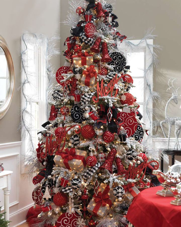 white christmas tree with red and gold decorations